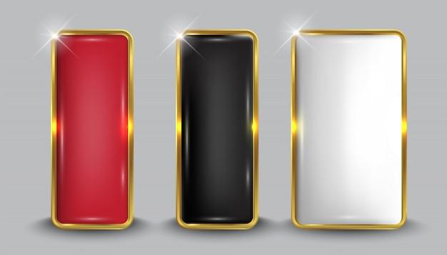 Button set web glänzend weiß gold5 Premium Vektoren