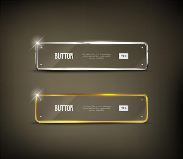 Button square web glänzend gold Premium Vektoren