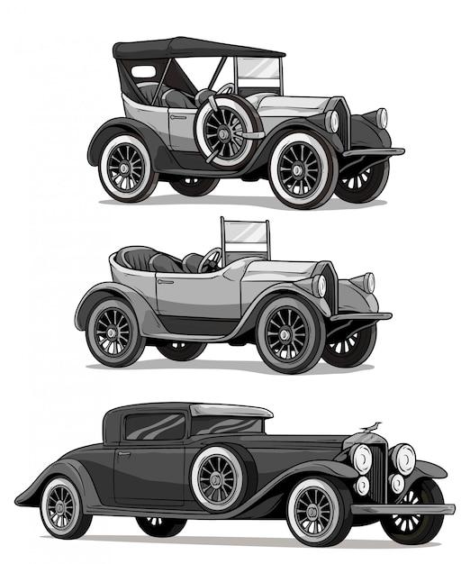 Cabrio-luxusautos der retro- weinlese der karikatur Premium Vektoren