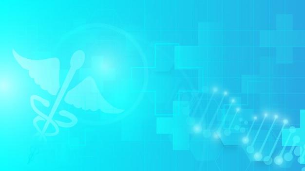 Caduceussymbol und abstraktes geometrisches auf blauem hintergrund Premium Vektoren