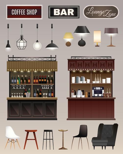 Cafe bar interieur set Kostenlosen Vektoren