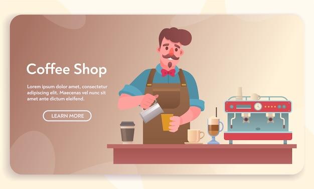 Café-, café- oder cafeteria-elemente. mann, der getränk am schalter vorbereitet. set aus verschiedenen desserts, kaffeemaschine, mühle, arten von getränken Premium Vektoren
