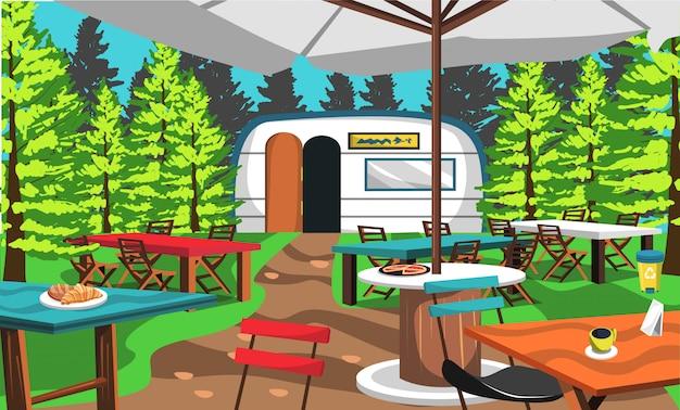 Cafe camp auf dem naturwald Premium Vektoren