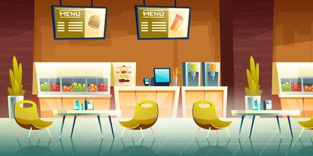 Cafe, einkaufszentrum food court innenraum Kostenlosen Vektoren