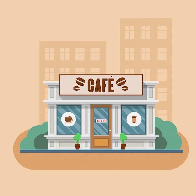 Cafe gebäude vektor-illustration Premium Vektoren