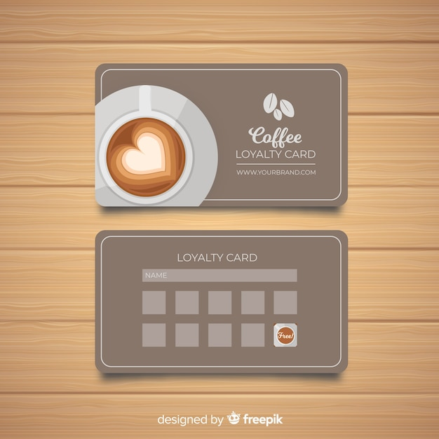 Café-kundenkarte mit moderner art Kostenlosen Vektoren