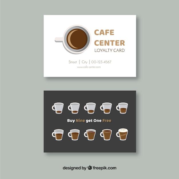 Café-kundenkartenvorlage mit eleganter art Kostenlosen Vektoren