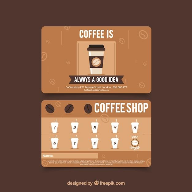 Café-kundenkartenvorlage mit moderner art Kostenlosen Vektoren