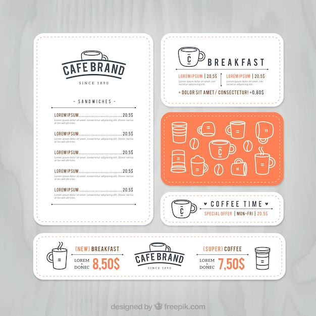Cafe Marke Menü | Download der Premium Vektor