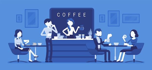 Cafe shop und leute entspannen. modernes interieur zum treffen, trinken und essen, plaudern, ausruhen, genießen der freizeit, barista-mädchen kocht kaffee für die öffentlichkeit. illustration mit gesichtslosen zeichen Premium Vektoren