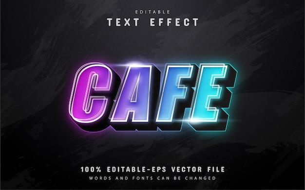 Cafe text, bunter 3d-texteffekt im neonstil Premium Vektoren