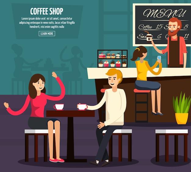 Cafe worker flat zusammensetzung Kostenlosen Vektoren