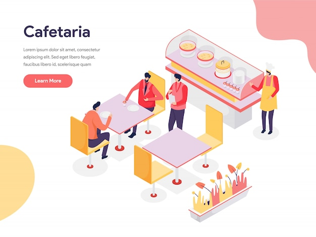 Cafetaria-illustrations-konzept Premium Vektoren