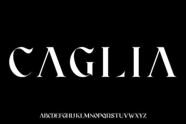 Caglia, der luxuriöse und elegante schrift-glamour-stil Premium Vektoren