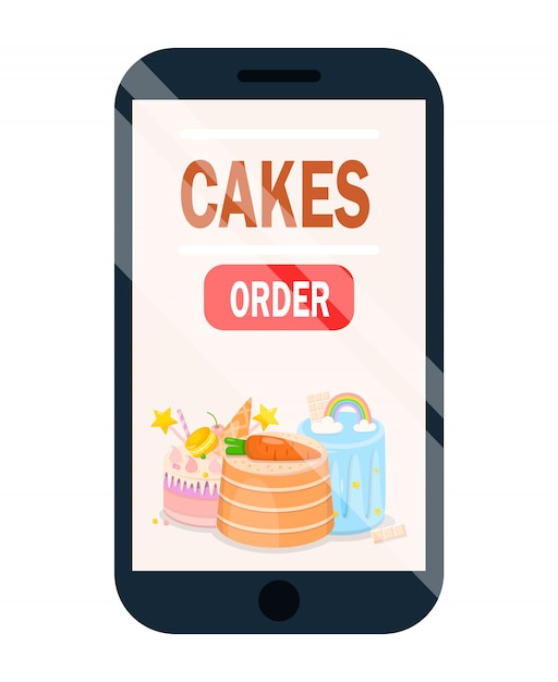 Cake online-bestellanwendung mit menüposter. Premium Vektoren