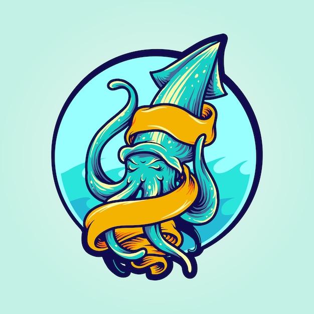Calamari logo maskottchen mit banner Premium Vektoren