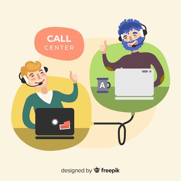 Call-center-agent-design in flachen stil Kostenlosen Vektoren
