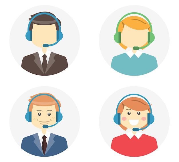 Call-center-betreiber mit einem lächelnden freundlichen mann und einer lächelnden frau, die headsets und eine zweite variante tragen, bei der sie auf runden webknopf-vektorillustrationen ohne merkmale oder ohne gesicht sind Kostenlosen Vektoren