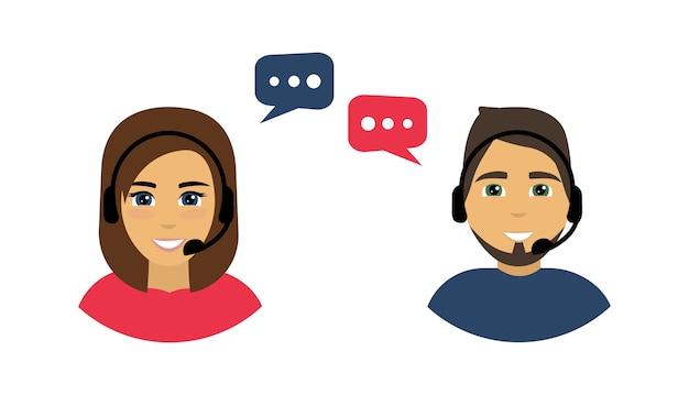 Call center. callcenter-avatare für männer und frauen. Premium Vektoren