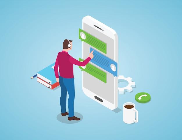 Call-center-chat mit dem mann, der mit isometrischer art des kopfhörers steht Premium Vektoren
