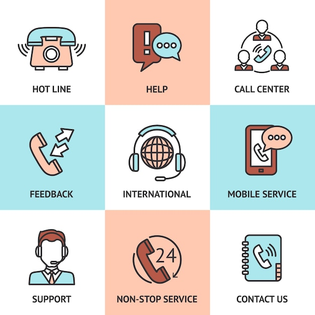 Call-center-design-konzept-set Kostenlosen Vektoren