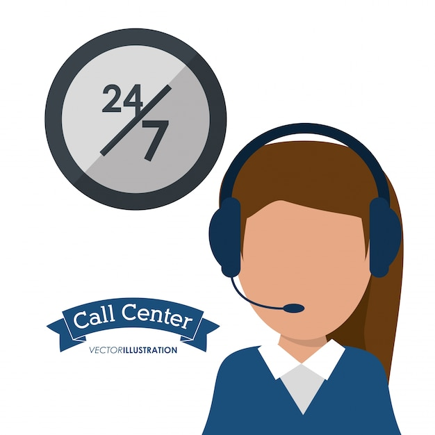 Call-center-frau-headset-service Premium Vektoren