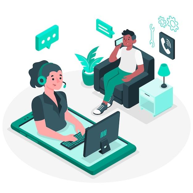 Call center konzept illustration Kostenlosen Vektoren