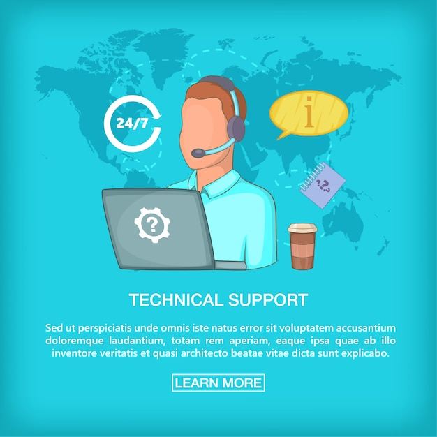 Call-center-konzept tech support, cartoon-stil Premium Vektoren