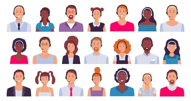 Call center-mitarbeiter. kundendienstassistent, sekretärinnen und 24 7 avatar-set für den technischen support Premium Vektoren