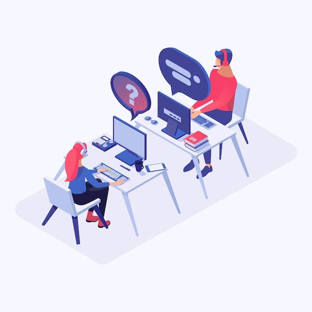 Call-center, online-support, hotline-betreiber, berater manager 3d-charaktere Premium Vektoren