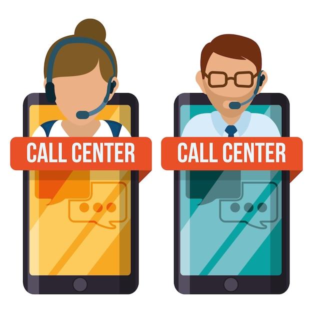 Call-center-service-symbole Premium Vektoren
