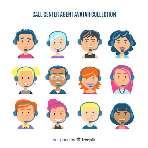 Callcenter-avatar-paket Kostenlosen Vektoren
