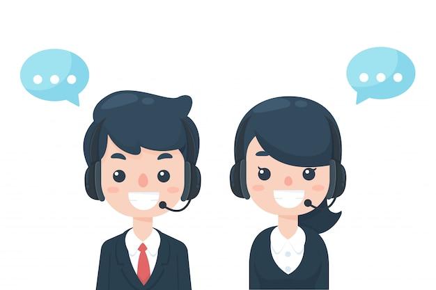 Callcenter des cartoon-personals in höflichem kleid warten auf das telefon, um kundenprobleme zu erhalten. Premium Vektoren