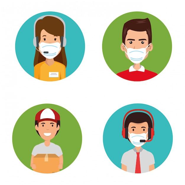 Callcenter für gruppenagenten mit gesichtsmaske Premium Vektoren
