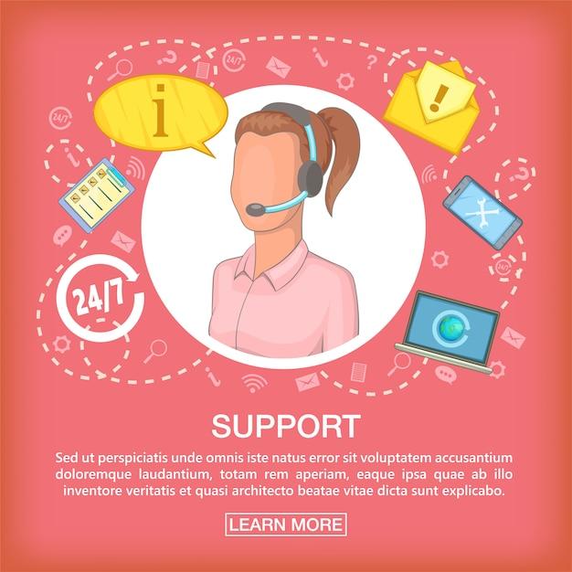 Callcenter-konzeptunterstützung hören, karikaturart Premium Vektoren