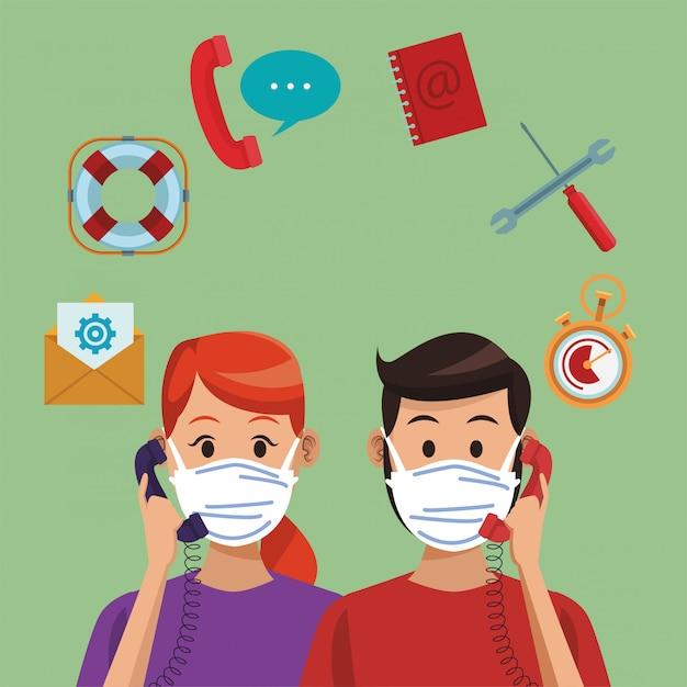 Callcenter-support-mitarbeiter mit medizinischer maske Premium Vektoren