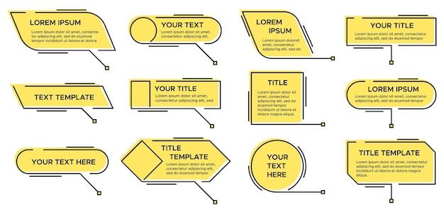 Callout-titel. rufen sie textgrafik, moderne infografik gelbe layout-titel und video, nachrichten-callouts einfaches textfeld Premium Vektoren