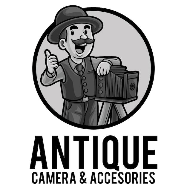 Camera store logo maskottchen vorlage Premium Vektoren