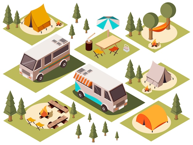 Camp elements isometric set Kostenlosen Vektoren