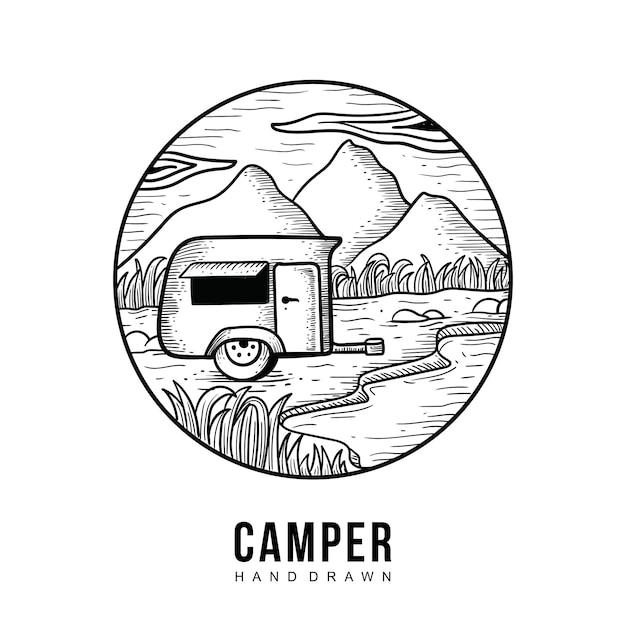 Camper hand gezeichnet Premium Vektoren