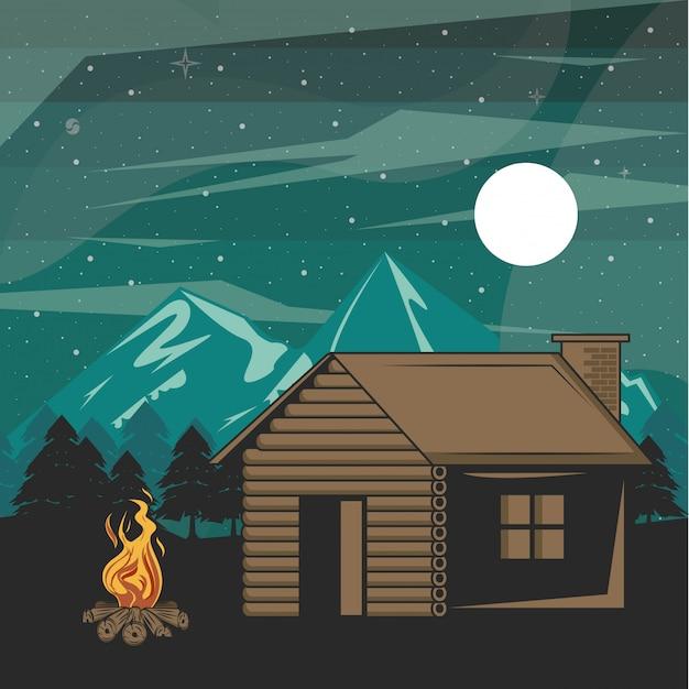 Camping abenteuer im wald bei nacht landschaft Kostenlosen Vektoren