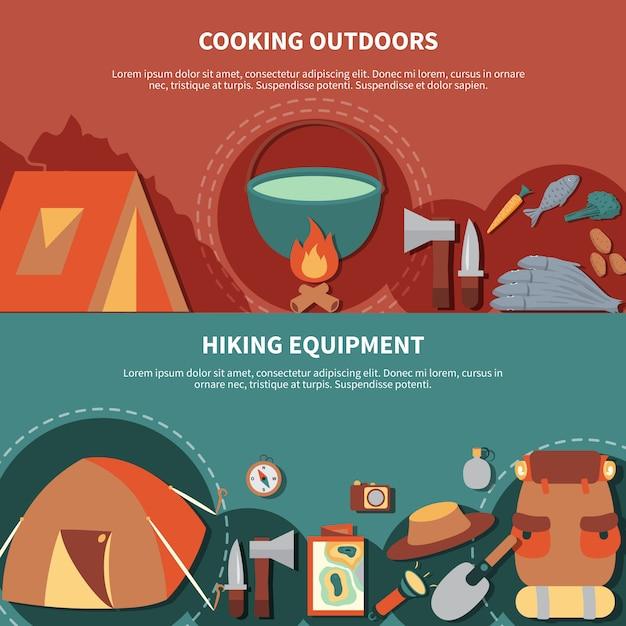 Camping banner gesetzt Kostenlosen Vektoren