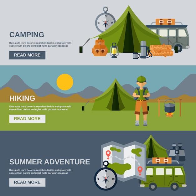 Camping banner set Kostenlosen Vektoren