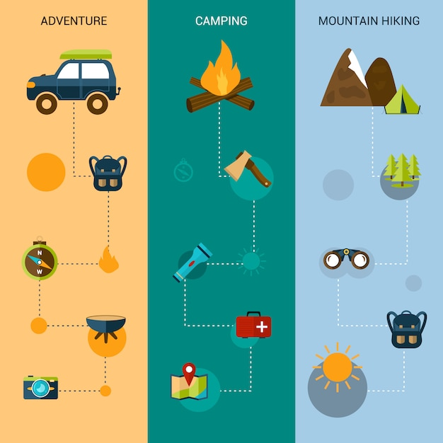 Camping banner vertikal Premium Vektoren