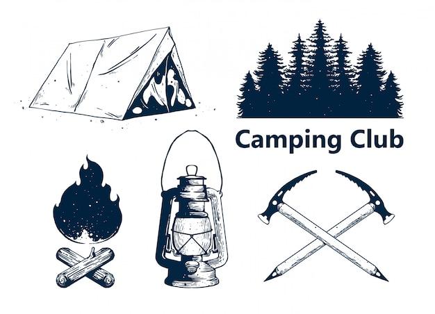 Camping club elementsatz Premium Vektoren