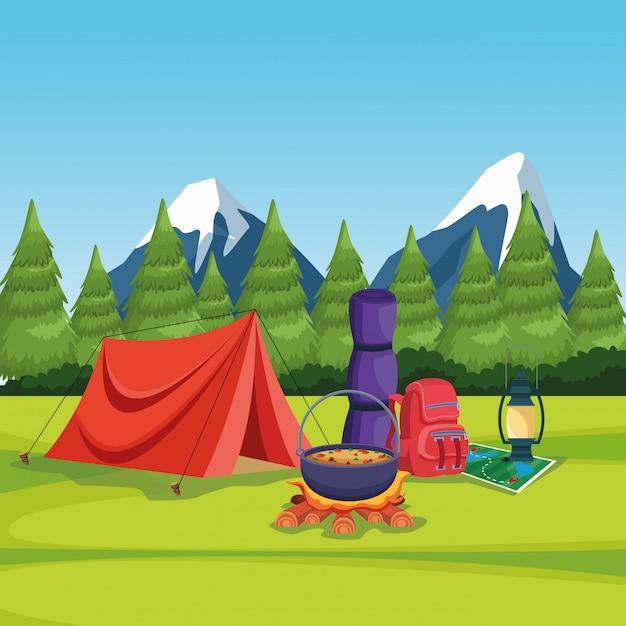 Camping elemente in einer ländlichen landschaft Kostenlosen Vektoren