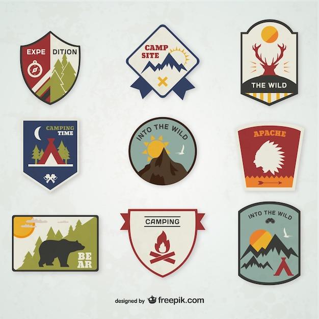 Camping-embleme eingestellt Kostenlosen Vektoren