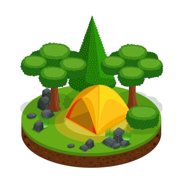 Camping, erholung im freien, zelt, landschaft für videospiele, wunderschön. waldsteine naturfreiheit Premium Vektoren