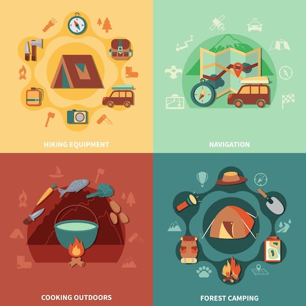 Camping flach eingestellt Kostenlosen Vektoren