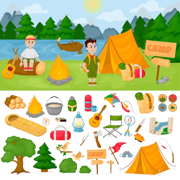 Camping für kinder im sommerlagerpark Premium Vektoren